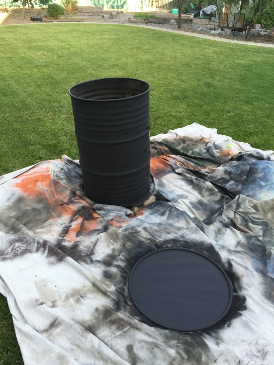 Spray painting the ugly drum smoker